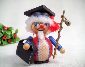 "Vintage Steinbach Collectible Christmas Ornament, Made in Germany, Hand Painted Wood Character ""Doctor"" PhD Doctor, University Professor"