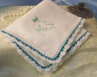 Religious Handkerchief, hanky, hankie, Hand Crochet, Blessed, Embroidered, Personalized, Butterfly, Turquoise, Blue, Ready to ship, Lace