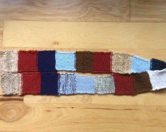 Hand Knit Patchwork Scarf
