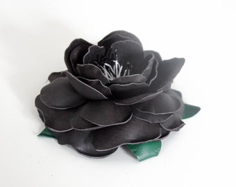 Beautiful Charcoal Leather Flower Hair Comb Handmade