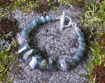 Sterling Willow -- AA Moss Aquamarine genuine gemstones Sterling Bracelet