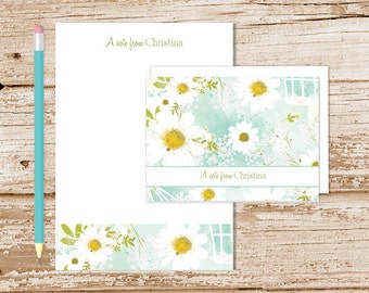 personalized daisy stationery set . camomile daisies notepad + note card set . floral notecards note pad . stationary set . flower gift set