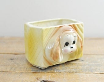 Mid Century Puppy Planter Collectible Dog Nursery Decor Retro Planters