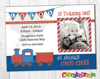 Train Birthday Invitation, Boy Birthday, Choo Choo Party