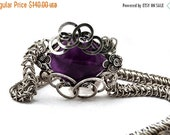 Chainmaille Necklace Amethyst Necklace Wire Wrap Stone Gothic Necklace Gemstone Necklace Silver Plated Wire Amethyst Jewelry Chainmaille