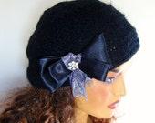Hand Crochet Black Unique Beanie Hat, Winter Accessories, Black winter Beret , Black Women Winter Hat