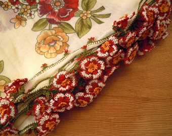 cream scarf, cotton, red flower turkish oya needle lace