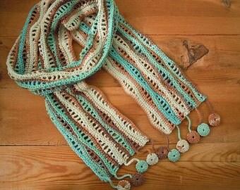 crochet scarf, aqua brown cream wave