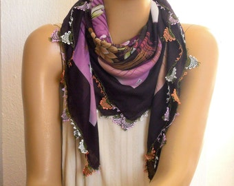 turkish scarf, crochet trim, plum