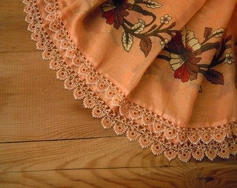 beaded scarf, turkish oya, pale orange cotton