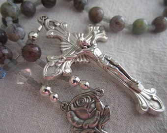 Our Lady of Fatima Agate and Czech Glass Rosary
