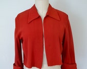 1960s red swing jacket // trapeze style caplet // short bolero with collar