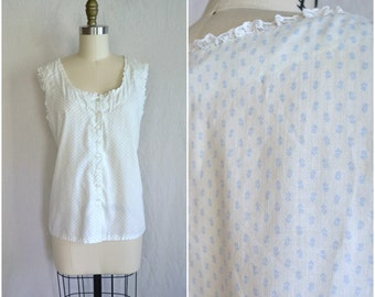 vintage white cotton nightie shirt / small floral sheer button up top / extra large