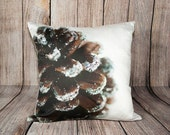 Brown Christmas Photo Pillow Covers, Decorative Throw Cushion ~ Pine Cone Photography ~ Festive, Handmade Holiday Decorations, Hostess Gift