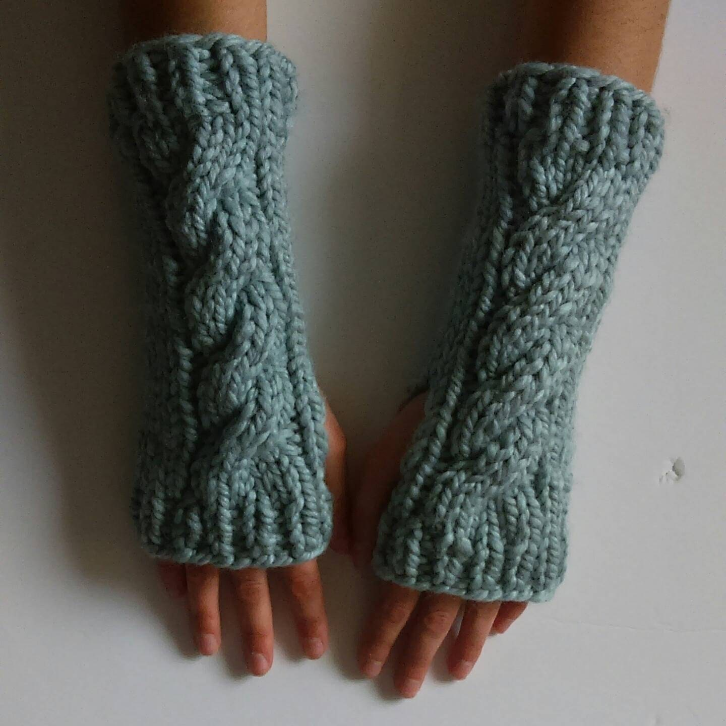 Knitting Pattern For Texting Mittens : Fingerless Cable Knitted Mittens Texting Mittens by GoGidgetGo