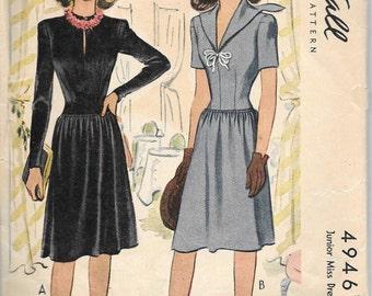 Vintage 1942  Junior Miss Dress, Gathered Waist, Sailor Collar, McCall 4946