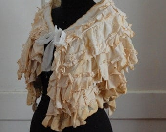 capelet,victorian ,steampunk shrug,bustle skirt, victorian,tea stayned, mori girl,marie antoinette ,jane austen,layer and frills,lace ruffle