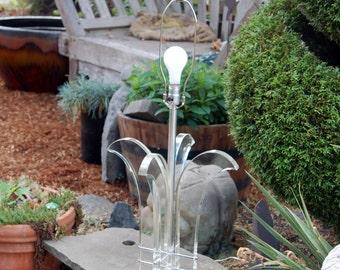 MCM Ritts Astrolite Lucite Tulip Shape Sculptural Formed Table Lamp ~ Ritts Co. L.A. Calif ~ Original Foil Label & Astrolite Lucite Finial