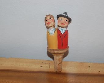 "German / Bavarian vintage Hand Carved animated / mechanical / articulated / kitschy Folk Art ""Kissing Couple"" Bottle Stopper"