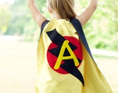 FAST Delivery - Lots of Color choices - Kids Superhero Cape Personalized double sided cape - Any Initial - Birthday Gift - Kids Easter Gift