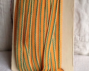 Vintage Trim, Orange & Green Cotton Tape. Mid Century Ribbon. Home Decor and Vintage Sewing Supplies 10 yards