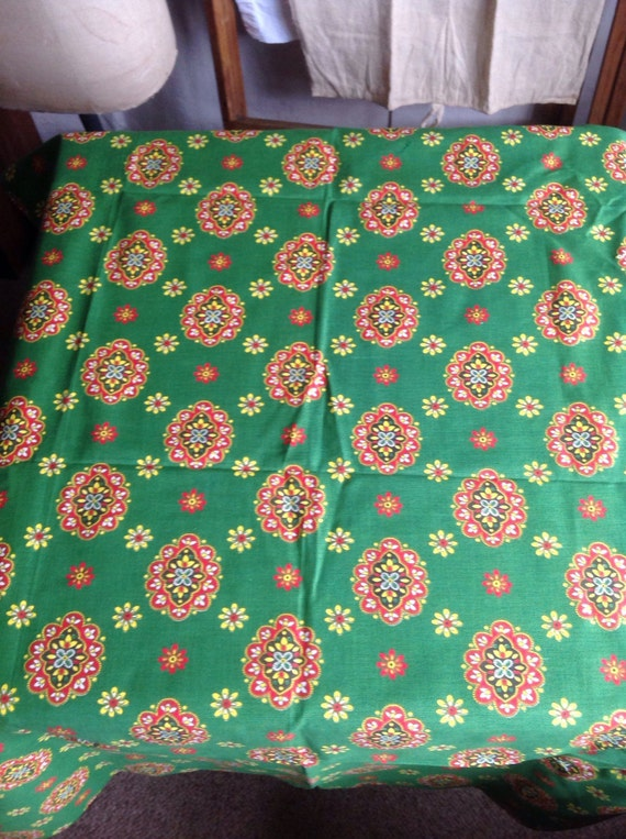 Vintage french fabric green yellow red medium weight for Rustic home decor suppliers