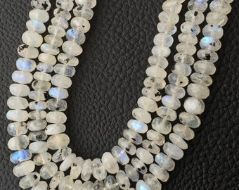 Spotted Blue Flashy Rainbow Moonstone Faceted Rondelles,Full 7.5 inch long strand,7-8mm size Rondelles.