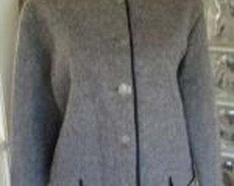 VTG 60s 1960s 70s 1970s Tyrolean Gray Wool Cardigan Sweater Metal Buttons Ski Novelty Lining M Medium