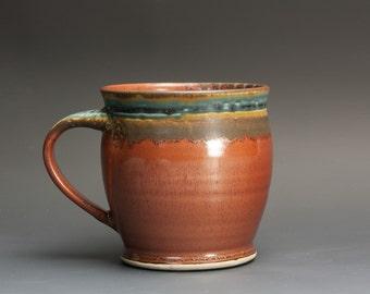 Pottery mug, handmade stoneware coffee mug, ceramic teacup, brick red tea cup 14 oz 3027