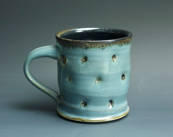 Sale - Handmade pottery coffee mug teacup glossy medium blue 14 oz 3294