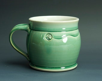 Pottery coffee mug, ceramic mug, stoneware tea cup jade green 16 oz 3378