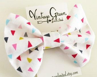 Triangle Baby Bow Headband, Headband Bow, Pink, Grey, Lime, Aqua, Geometric Toddler Bow, Photo Shoot, Nylon Head band, Girl's Hair Clip