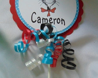 Dr Seuss Cake topper, Cat in the Hat birthday, Dr.Seuss birthday, 1st birthday, boy birthday centerpiece