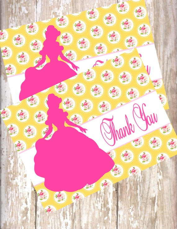 beauty and the beast birthday invitations thank you with envelopes 15