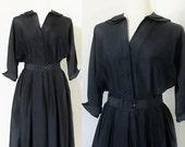40% OFF SALE Vintage 1940's Midnight Black Rayon Dress / Antique WWII Era Raglan Sleeves Norman Wiatt Designer / Size Medium