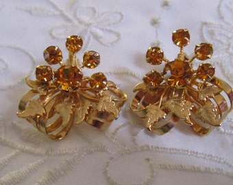 Vintage Gold Tone Leaf and Ribbon Clip On Earrings with Orange Rhinestones by Kramer of New York