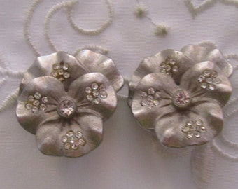 Vintage Pewter Petunia Clip On Earrings with Tiny and Small Clear Faceted Rhinestones