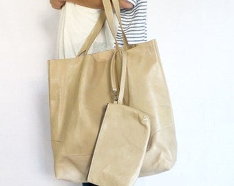 Leather Tote Bag / Handbag / with Samll Pouch - Beige