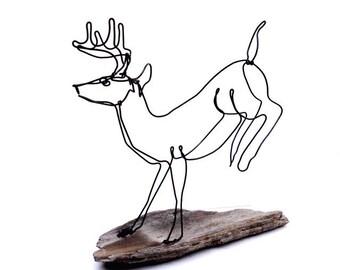 Running Buck Wire Sculpture, Deer Wire Sculpture, Deer Folk Art, 479701413