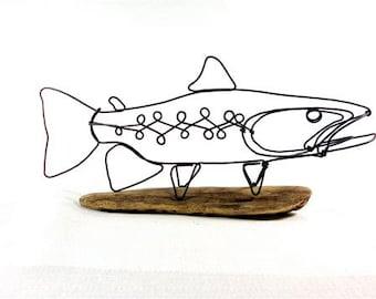 Trout Wire Sculpture, Fish Wire Art, Minimal Wire Design, 277722450