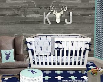 Crib Bedding Woodland, Baby Boy Nursery Baby Bedding, Mod Mint Forest, Navy Mint Gray Tribal Ferather Aztec Arrow Deer Moose Nursery