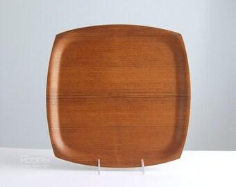 Danish Teak Square Modern Serving Tray Platter
