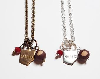 Ohio Buckeye Charm Necklace | Ohio State Buckeyes | Ohio Gift