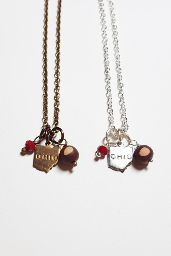 ohio buckeye charm necklace ohio state buckeyes ohio gift