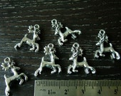 Destash (6) Reindeer Santa Claus Christmas Charms - silver leaping deer - for pendants, jewelry making, crafts, scrapbooking