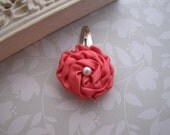 Petite Satin Rose . snap clip . toddler hair accessory . coral