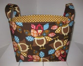 Ready to ship! Happy Thanksgiving Turkey Polka Dot Fabric Gift Basket