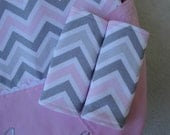 Car Seat Strap Cover Chevron and Minky, Your Choice of Colors, Reversible