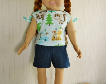 """18"""" Doll Denim Shorts with Top for American Girl Type Dolls"""