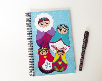 Frida Kahlo notebook, matruska notebook, babuska.
